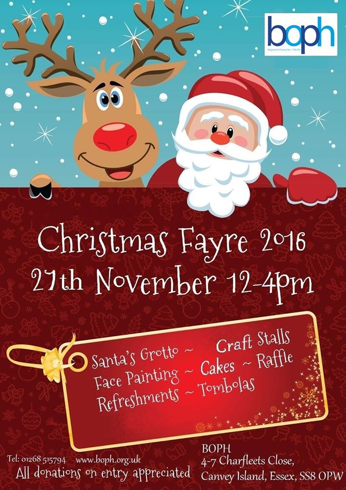 B.O.P.H Christmas Fayre 27th November 12 - 4 pm